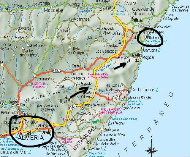 карта андалусии (испания, альмерия)